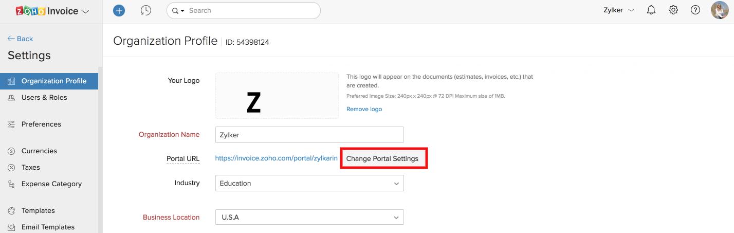 client portal settings