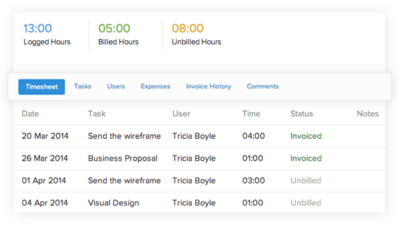 Features in timesheet