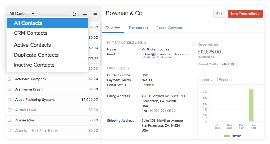 Contacts in Zoho Invoice