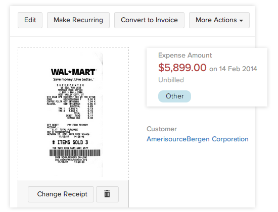 Upload and attach expense receipts