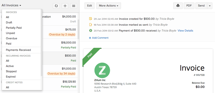 Zoho Invoice All Invoices On One Page
