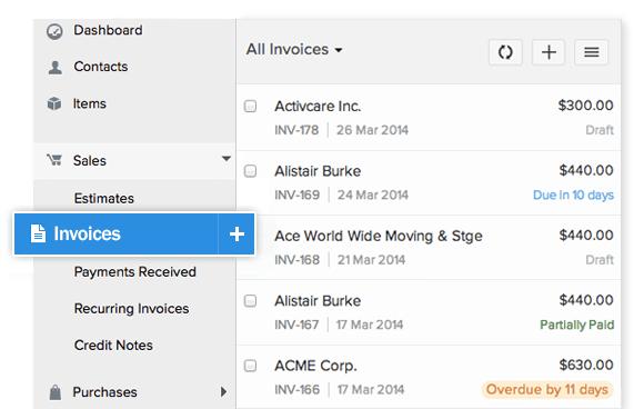 Zoho Invoice- Send invoices online