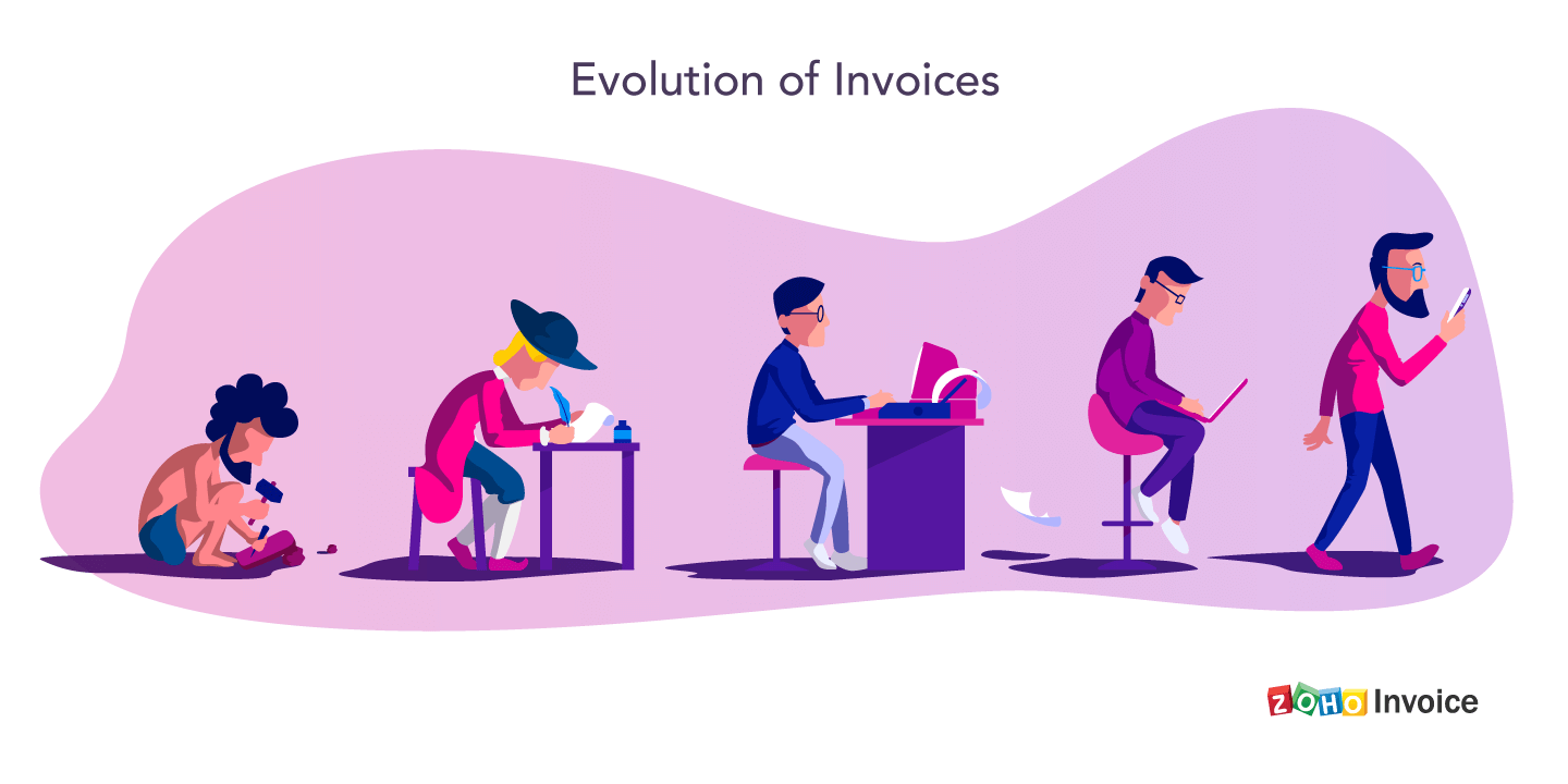 Evolution of invoices from stone invoices to hand-written invoices, electronic invoices, online invoices and mobile invoices
