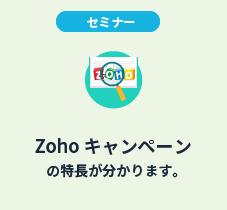 Zoho キャンペーンの特長が分かります。