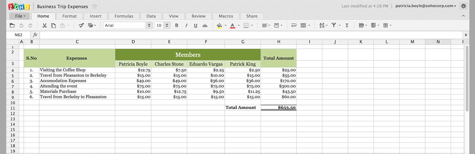 Zoho Sheet - Online Spreadsheet Application