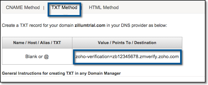 Domain Verification - Email Hosting with Zoho