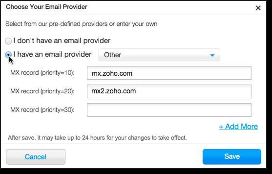 Wix DNS - CNAME, MX for Zoho Mail