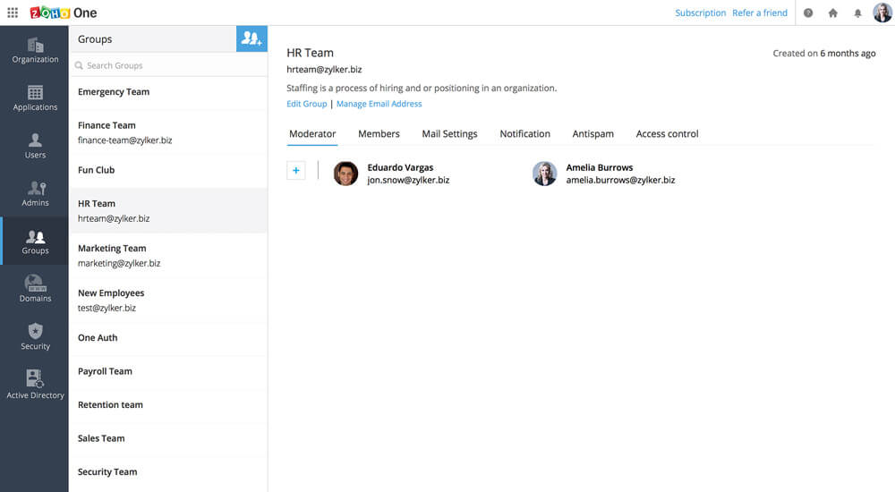Group users into teams to deploy applications and send email to multiple employees at once
