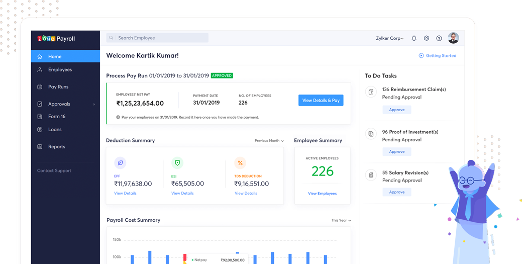 Zoho Payroll Application Screen