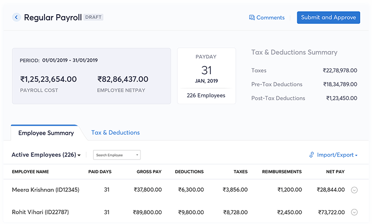 Complete payroll processing faster - Zoho Payroll