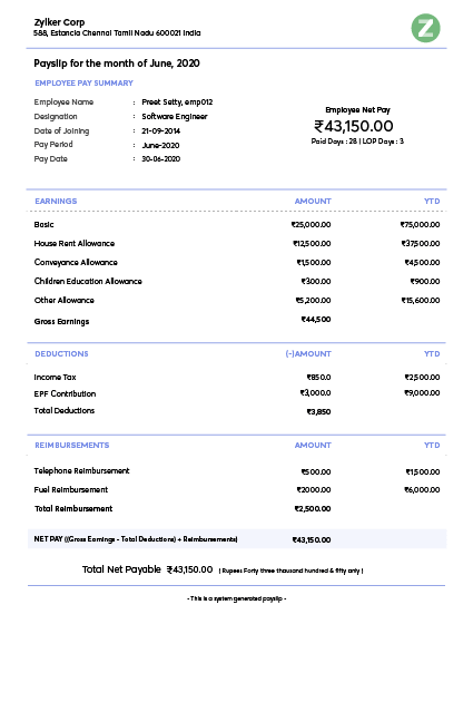 Payslip templates | Download salary templates online | Zoho