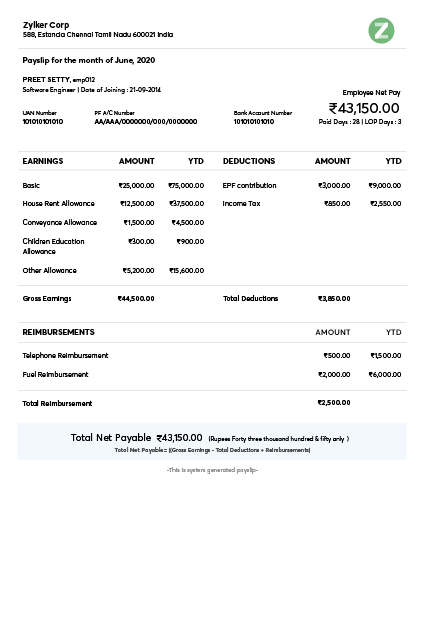 Payslip Templates Download Salary Templates Online Zoho Payroll
