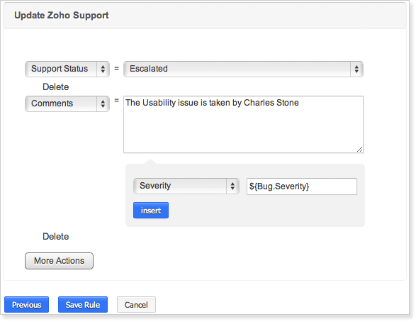 Update Zoho Support