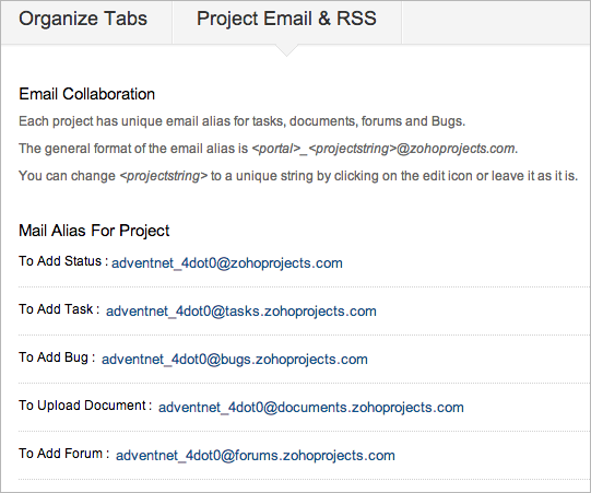 Project Email & RSS