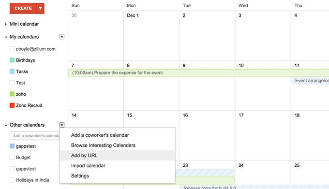 Events in Google Calendar