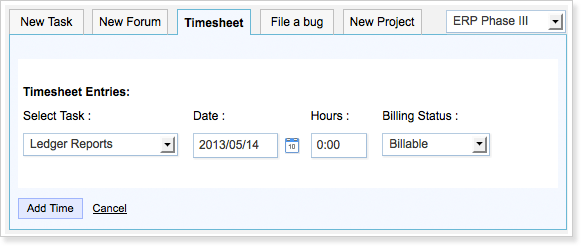 Log hours in timesheet