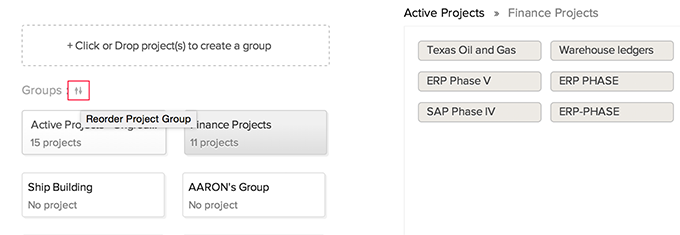 Reorder-projectgroups