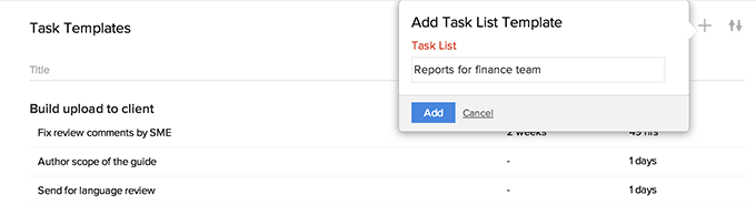 Add Tasklist Template link
