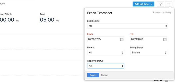 Export Timesheet