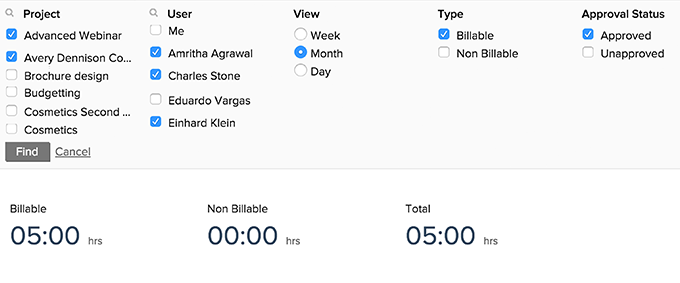 Types of filters in My Timesheet page
