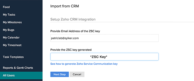 Provide ZSC Key