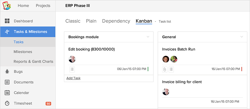 how to make tasks dependent in zoho project