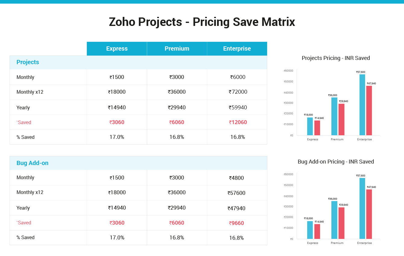 Zoho Projects - Pricing Save Matrix