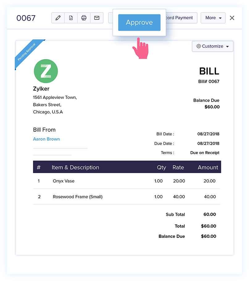 Purchase Approval - Bills Verification - Online Billing Management Software | Zoho Books