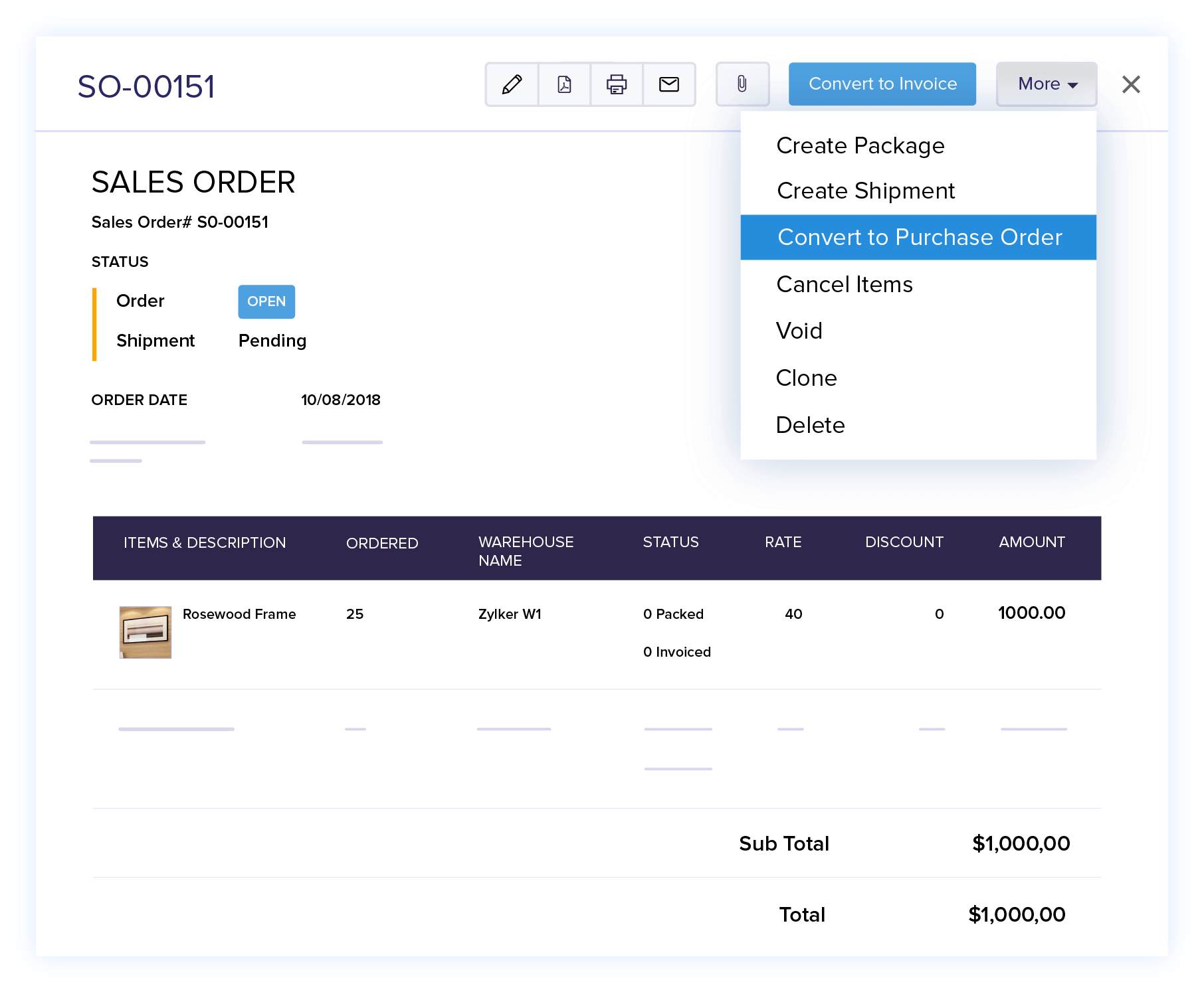 Convert Order to Purchase Order - Online Sales Order Management Software | Zoho Books
