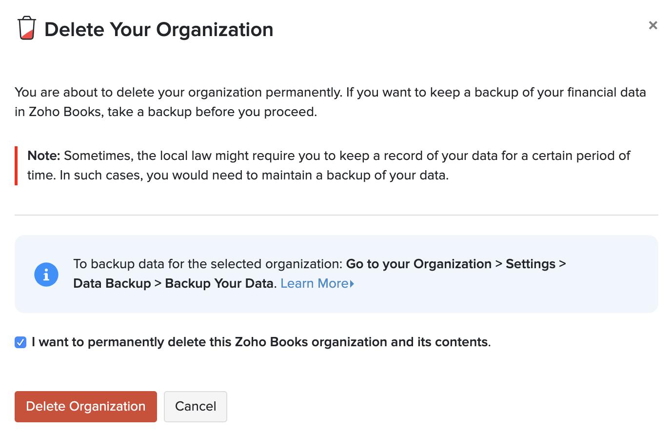 Delete Organization