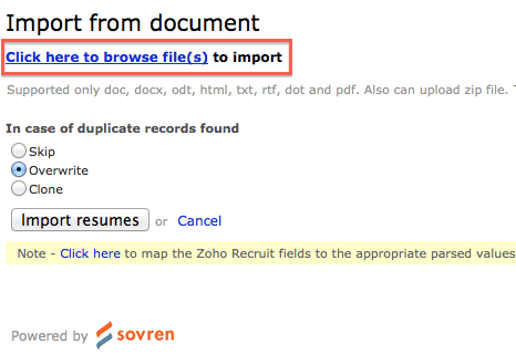 parsing the resume from this screen user can view and parse resume one - Parse Resume