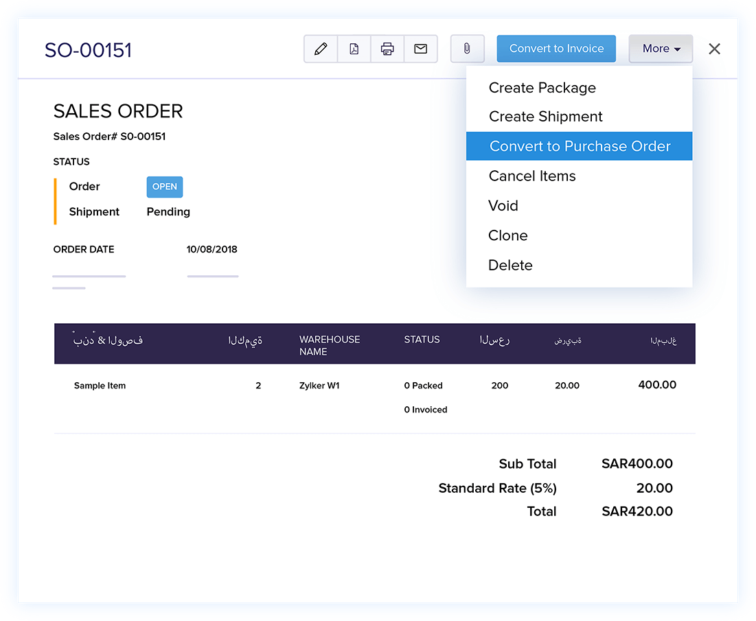 Convert Order to Purchase Order - Online Sales Order Management | Zoho Books