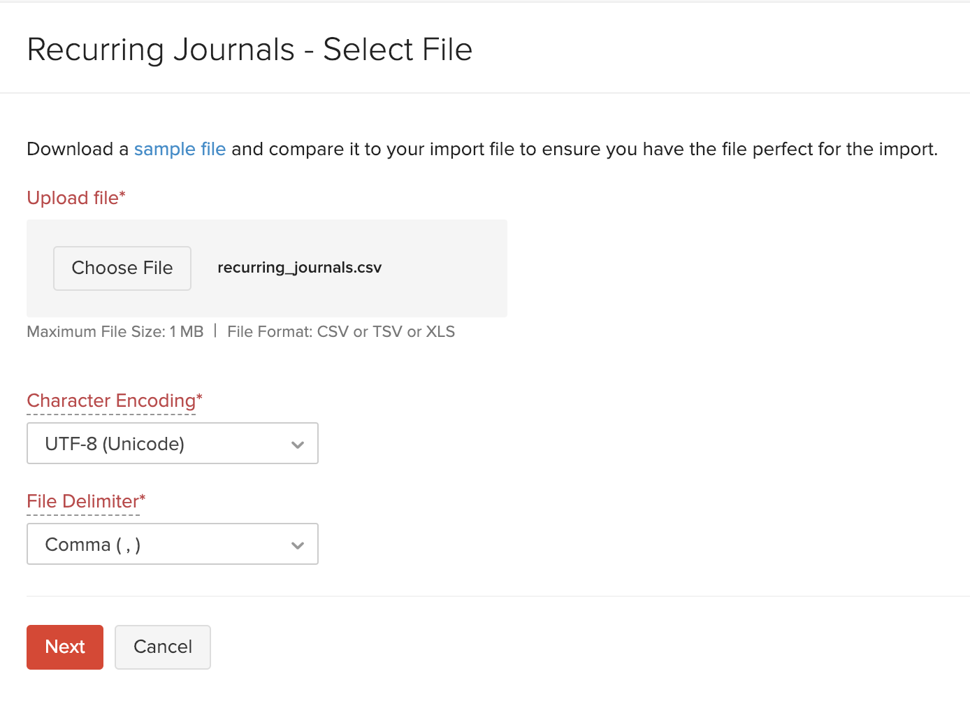 Import Recurring Journals - Choose File