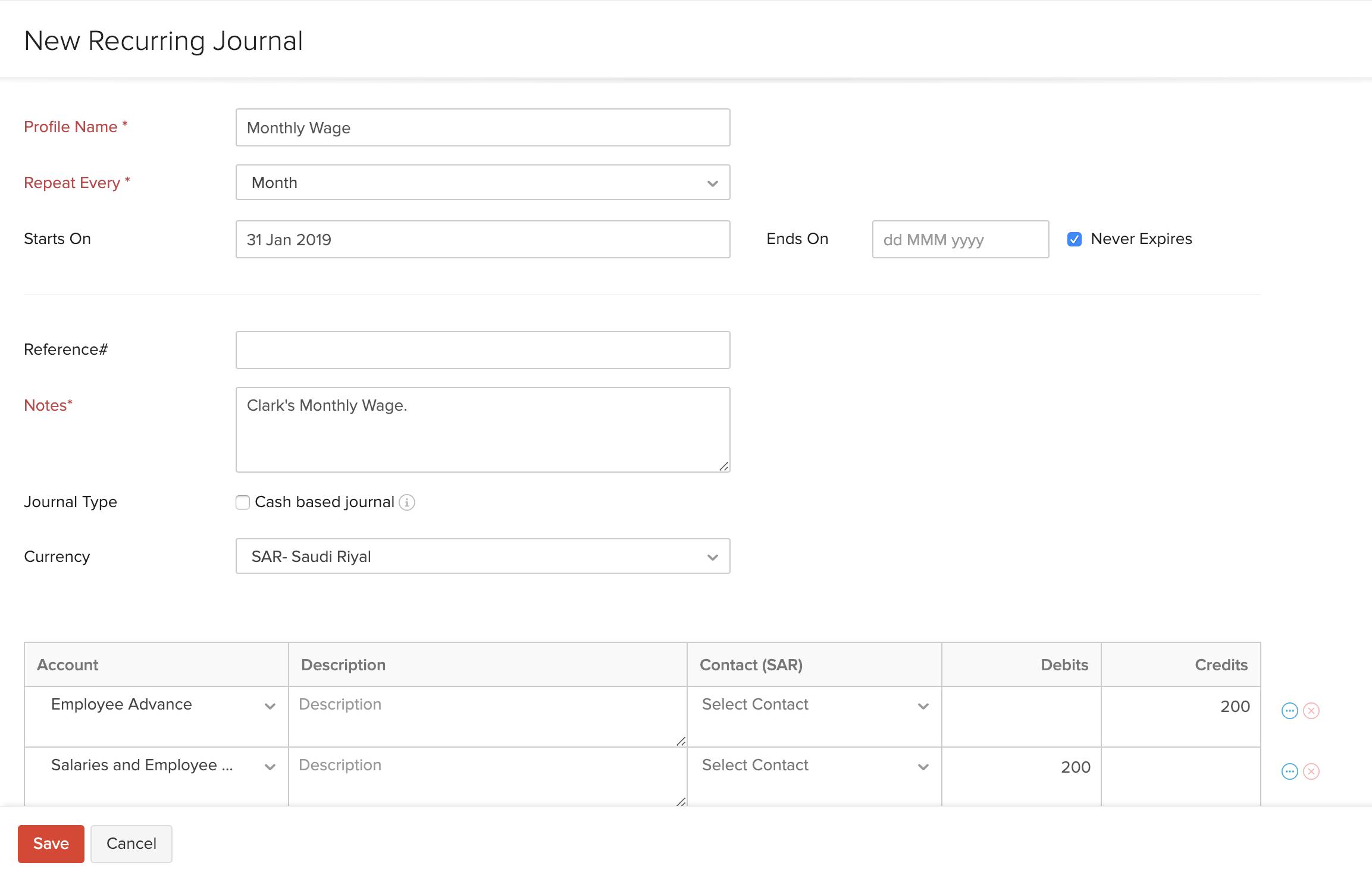 Create Recurring Journals