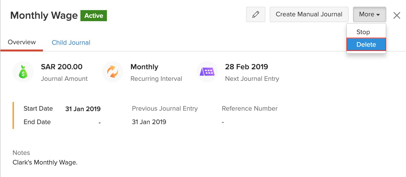 Delete Recurring Journals