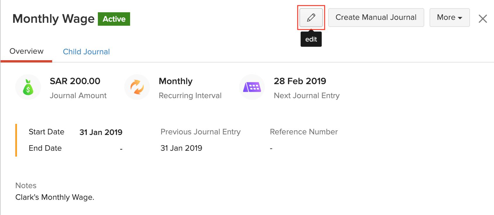 Edit Recurring Journals
