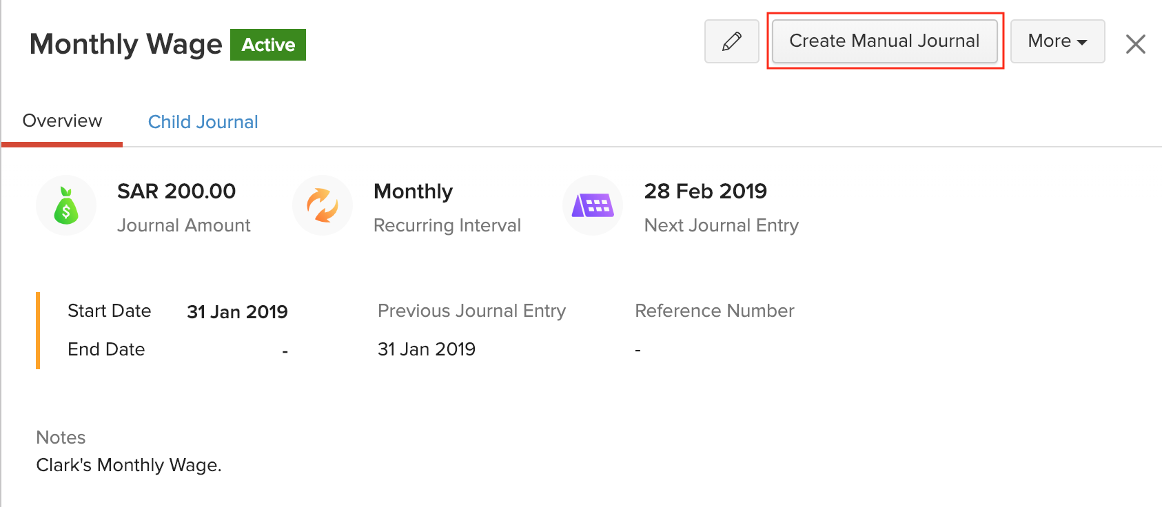 Creating Manual Journal from Recurring Journals