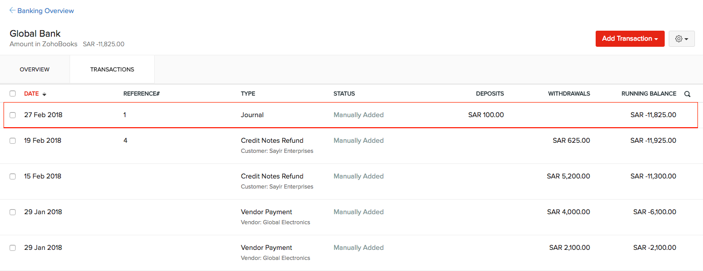 Match manually added transaction