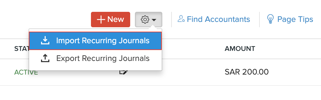 Select Import Recurring Journals