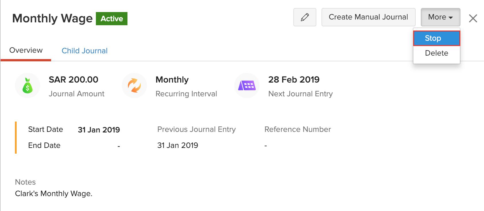 Stop Recurring Journals