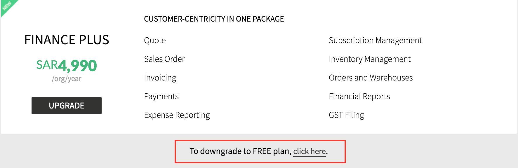 Downgrade Plan