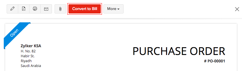 Convert purchase order to a bill