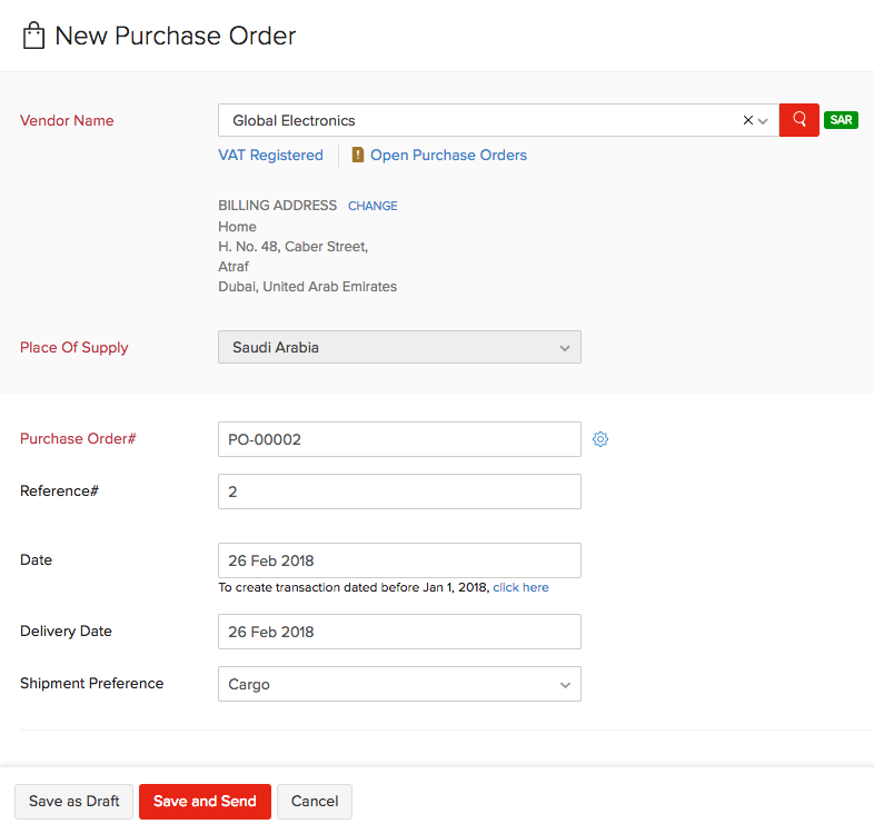 Purchase order new customer