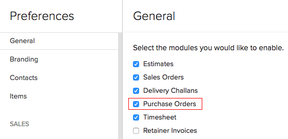 Enable purchase orders