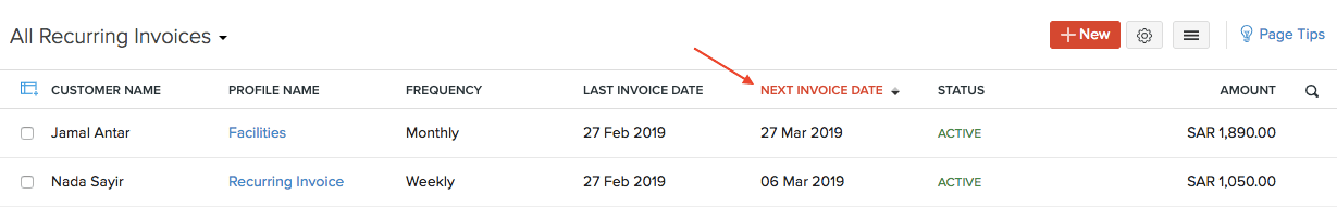 Sort Recurring Invoices