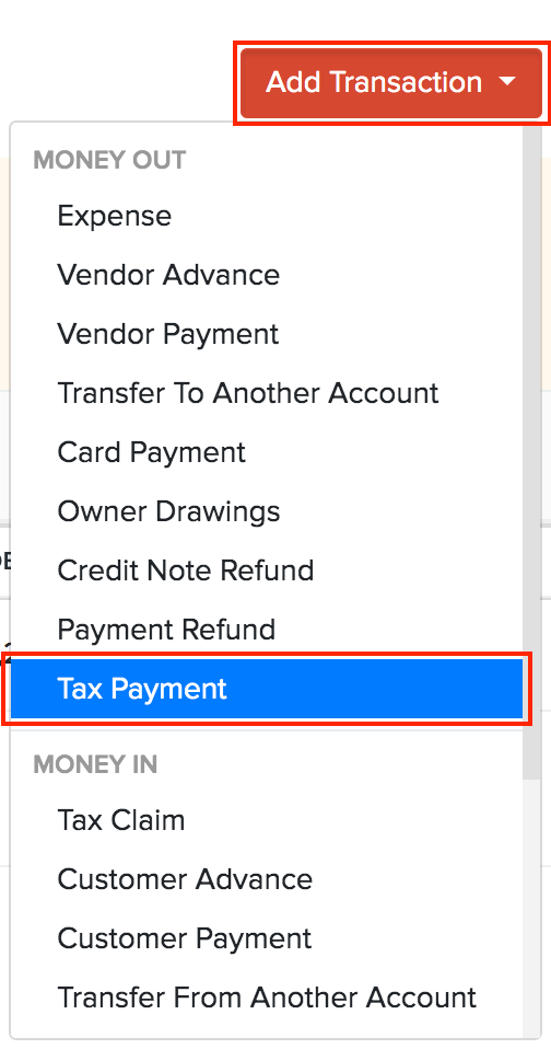 Banking Tax Payment