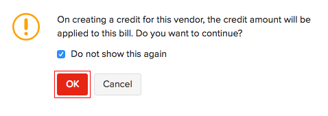 Creating a vendor credit