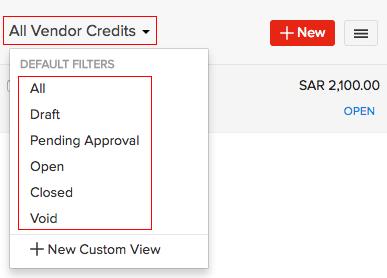 Filter Vendor Credits