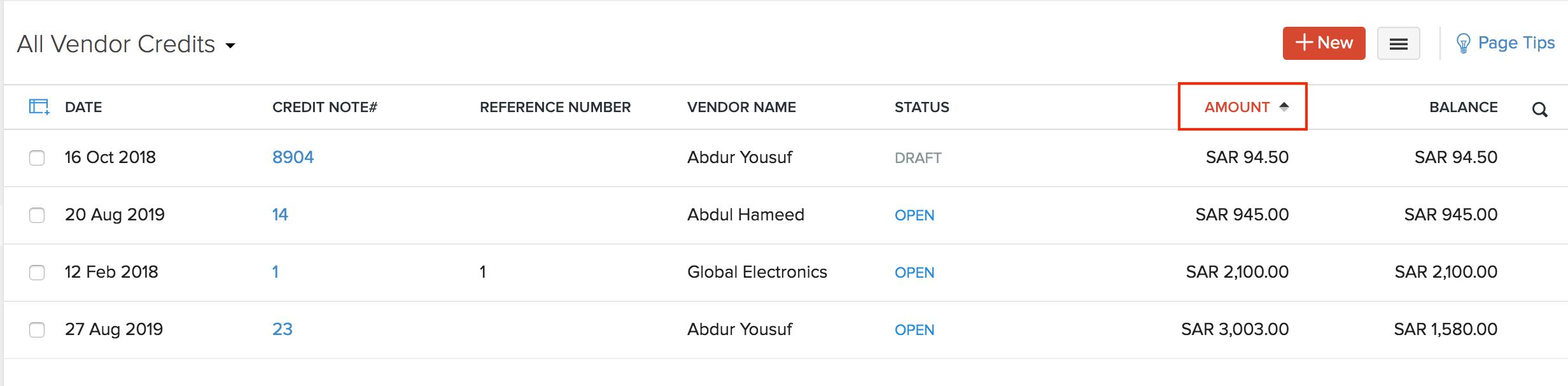 Sort Vendor Credits