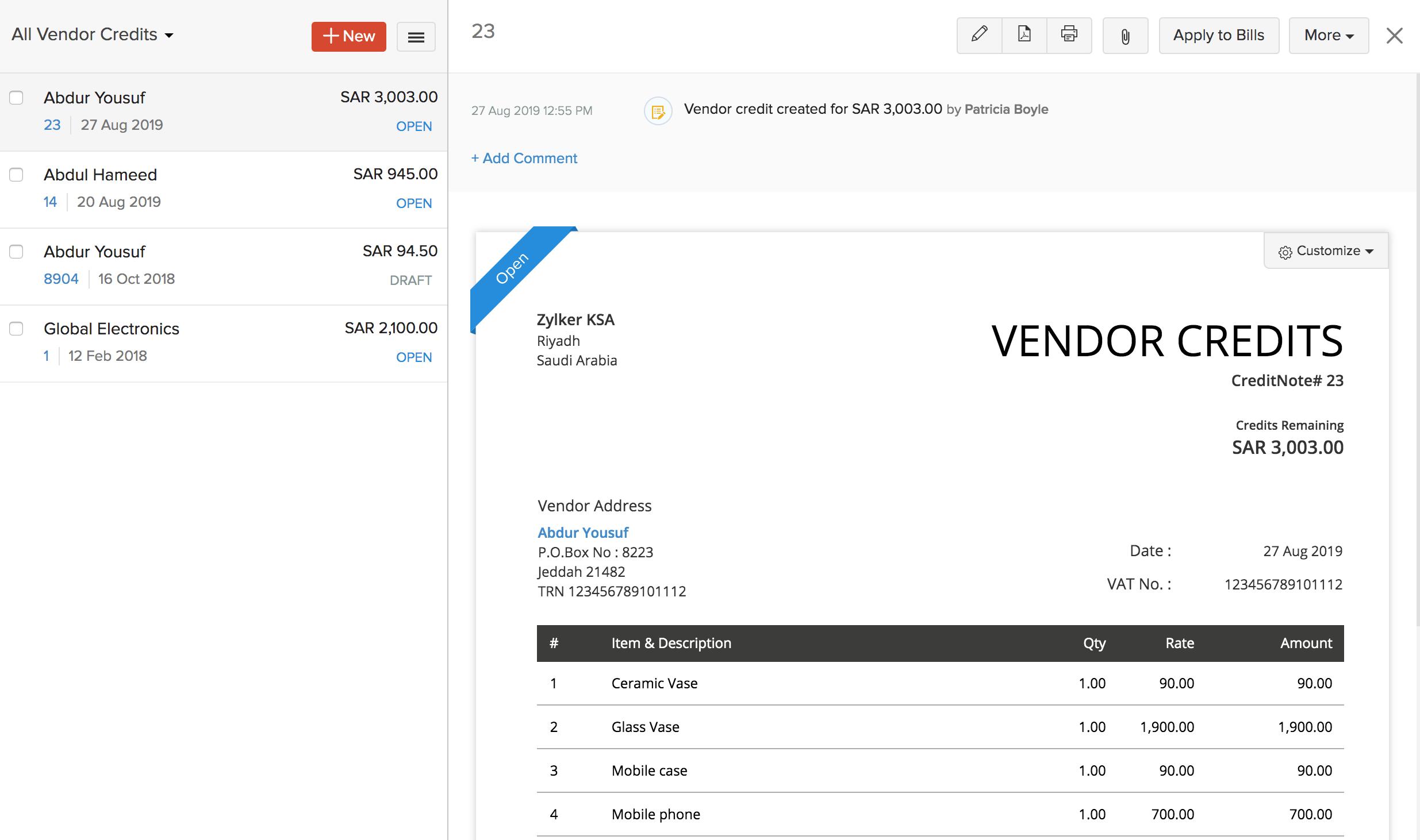 View Vendor Credits